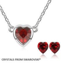 2015 hot vente coeur collier boucles d'oreilles ensemble de bijoux cristaux de Swarovski cadeau de noël