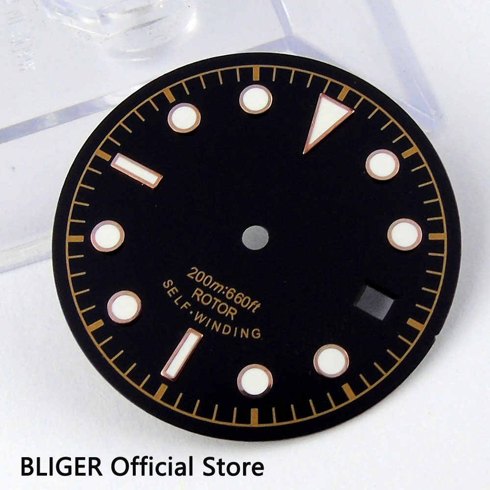 30.4MM Black Sterile Dial White Marks Green Luminous Numerals Watch Dial Fit For ETA 2824 2836 Automatic Movement D24