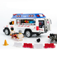Family Fun alloy Sound &Light ambulance model car in china /Ambulance,Die cast emergency rescue vehicle toy for Kids