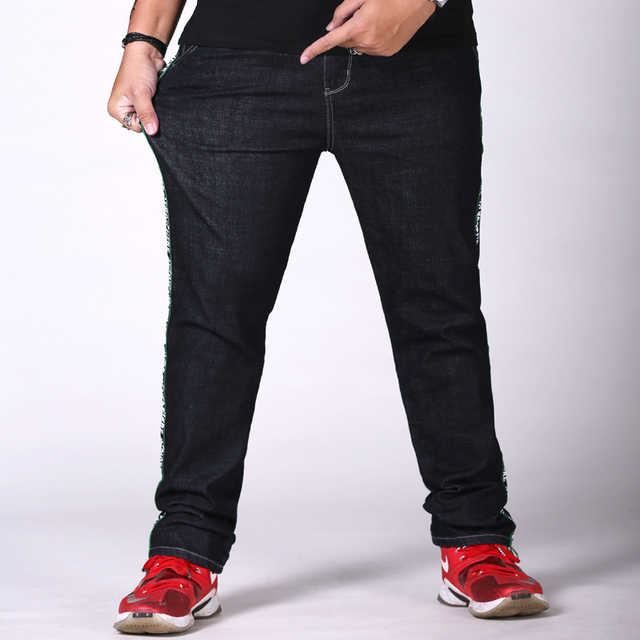 Us 38 9 New Spring Jeans Men Black Stretch Slim Denim Pants Men S Large Big Size 30 46 48 Male Side Webbing Jeans Trousers High Quality In Jeans