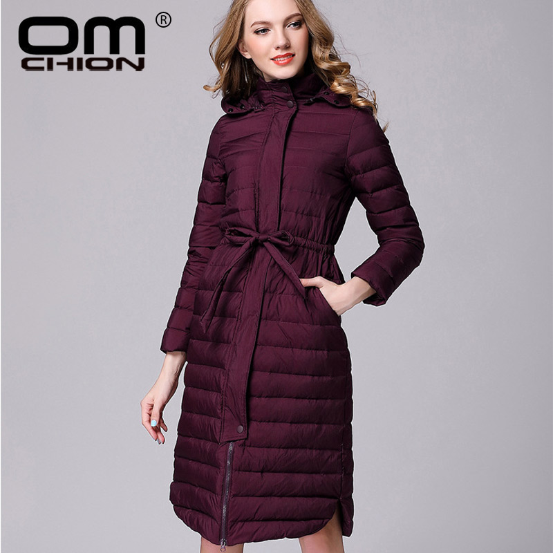 OMCHION Hooded Winter Coat Women 2018 Autumn Ultra Light Down Jacket Elegant Slime Long Overcoat With Sashes Fashion Parka QY16