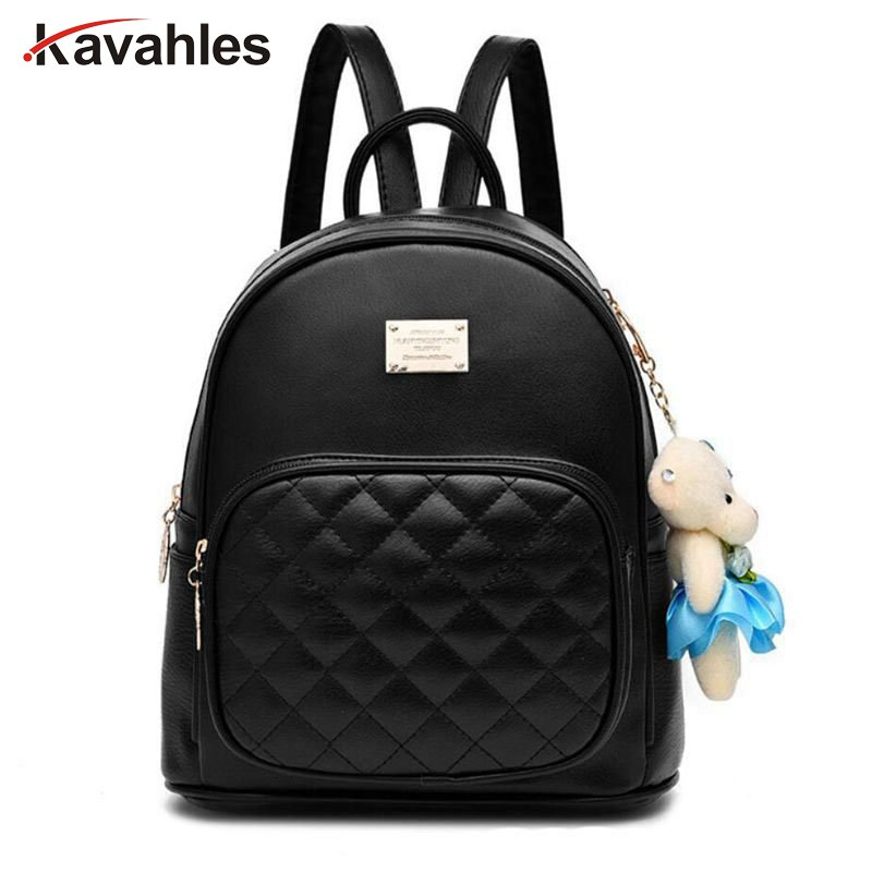 New High Quality Women PU Leather Backpack School Bags for Teenage Girls Lady Travel Small Backpacks