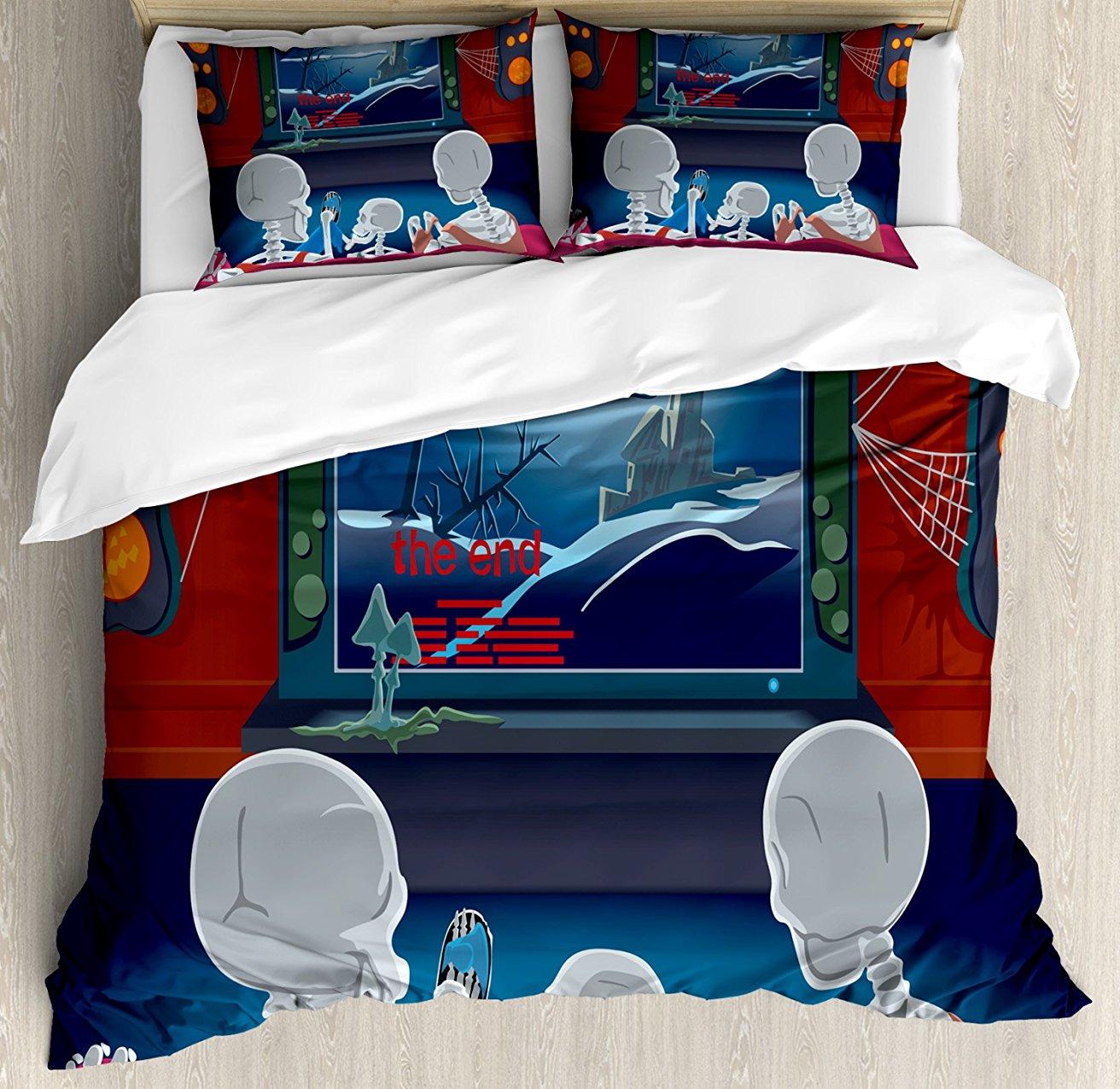 Фильм Театр постельное белье Семья скелетов сидя на диване и наблюдая фантастический фильм дома 4 шт. Постельное белье