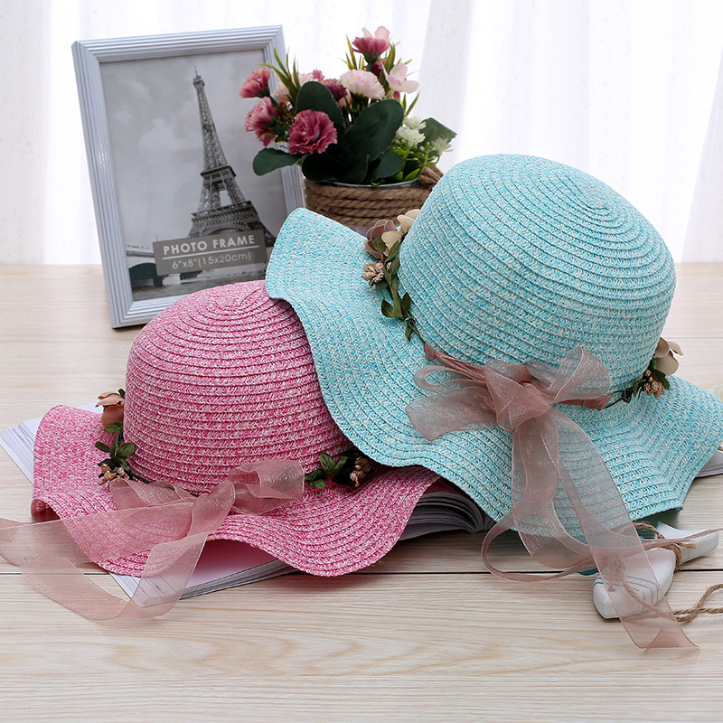 Summer Hat Women Sun Hats Beach Ladies Bow Flower Wide Brim Sunscreen Girls Travel Shade Foldable Bowknot Sequins 5 Colors