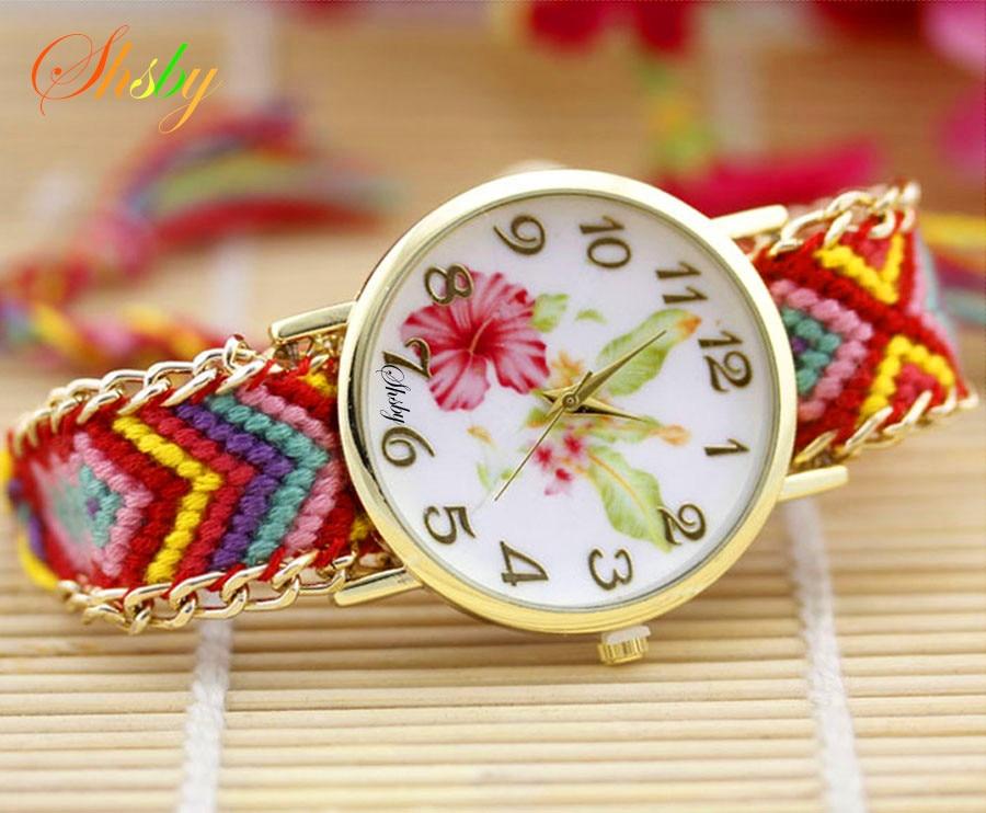 shsby nya damer blomma vävda nylon rep armbandsur mode kvinnor klänning titta hög kvalitet kvarts klocka söta tjejer klocka