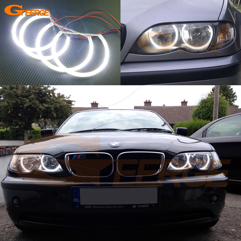 For BMW E46 318i 323i 325i 328i 330i 325xi 330xi Halogen headlight Excellent Ultra bright illumination smd led Angel Eyes kit 2pcs angel eyes car auto white led light for bmw e90 e91 3 series 325i 328i 325xi 328xi 330i 06 08 excellent quality angel eyes