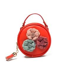 Children Handbag New Women Cartoon Flower Tassel Pu Waterproof Shoulder Bag Kids Messenger Bags 730