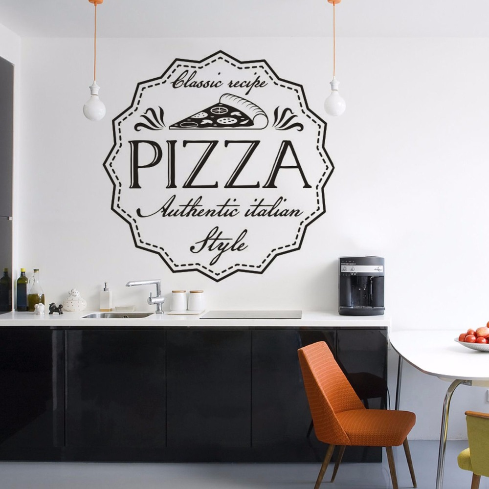 Pizza Classic Recipe Wall Sticker Italian Style Pizzeria Wall Art Poster Removable Restaurant Pizza Shop Window Murals AZ233 image