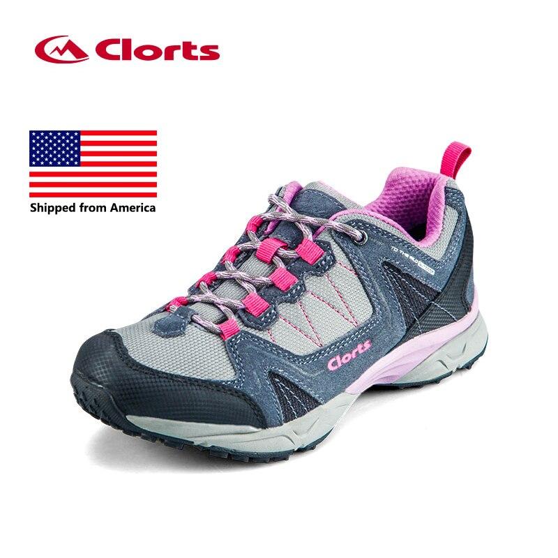 ФОТО Shipped From USA Clorts Women Trekking Shoes Cow Suede Outdoor Shoes Waterproof EVA Hiking Shoes Sport Sneaker 3D028C