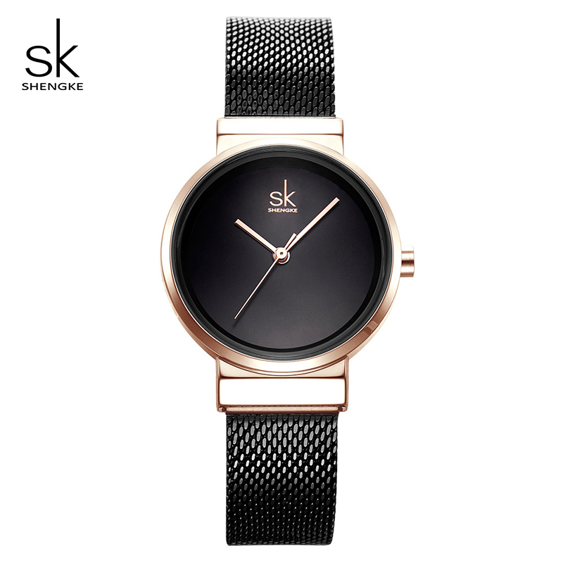Shengke Stainless Steel Watches Women Black Fashion Bracelet Watches 2019 Top Brand Luxury Ladies Quartz Watch Relogio Feminino