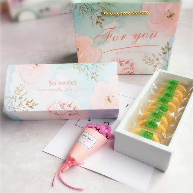 10pcs light blue pink flower design Paper Box for Cookie candy snacks Storage Boxes birthday Christmas gift packaging