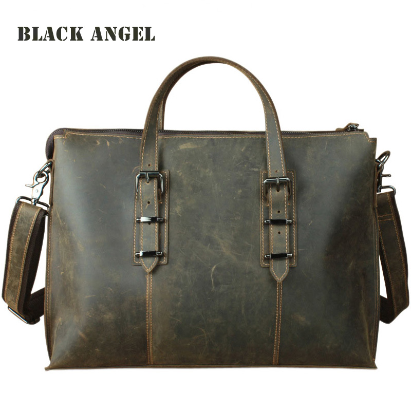 New Genuine Leather Men briefcase Business Bag Crazy Horse Cow Leather messenger bag shoulder 14 laptop bag 100% genuine leather men bag brand designed men laptop briefcase business bag cow leather men handbag shoulder bag messenger bag