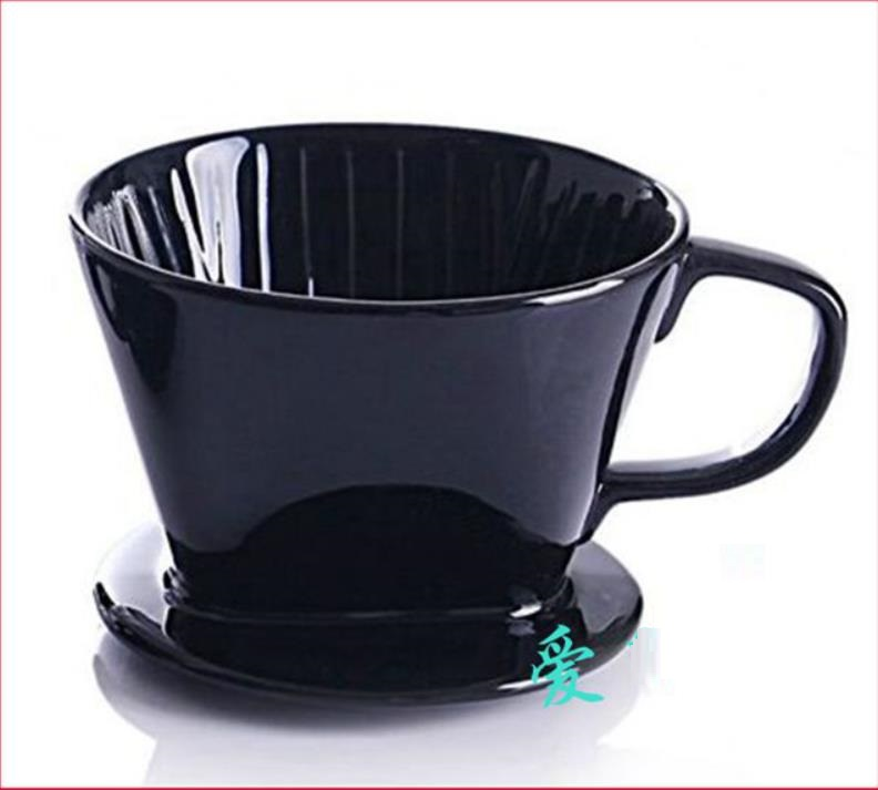 Ceramic Filter Cup Coffee Maker Filter For 2 4 People Black Cone Porcelain Drip Dripper Handle ...