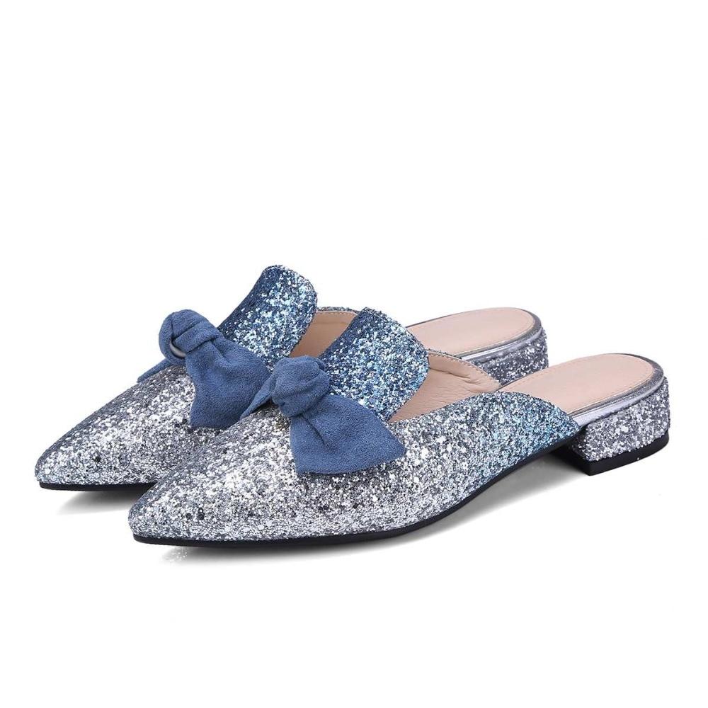 2018 Fashion Pointed Toe Slingback Elegant Women Summer Shoes Slip on Fashion Bowtie Low Heels Bling Sweet Mules Women Pumps L62
