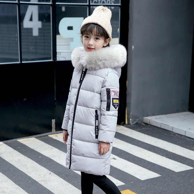 2019 Новая модная теплая одежда для девочек зимние хлопковые куртки-пуховики пальто с меховым воротником детская утепленная парка детская одежда с капюшоном