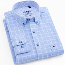 قميص من قماش فلانل الرجال قميص طويل الأكمام 100% القطن منقوشة فستان رجالي قمصان عادية سليم صالح بلوزة بلايز حجم كبير 4XL kamas Hombre