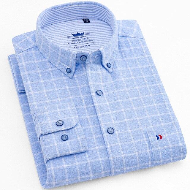 Flannel Shirt Men Long Sleeve Shirt 100% Cotton Plaid Dress Mens Shirts Casual Slim Fit Blouse Tops Plus Size 4XL Camisas Hombre