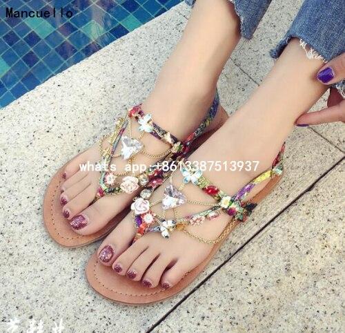 ФОТО Summer 2017 Hot Girls Classic Bohemia Diamond Clip Toe Flower Chains Flat Beach Sandals Cheap High Quality Shoes Lady