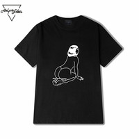 Aelfric Eden Men Black Retro Printing Loose T-Shirts Fashion Leisure Tshirt Round Neck Hip Hop Skateboard Top-Tees SNL532