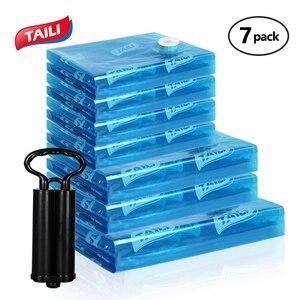 Image 1 - Вакуумные пакеты для хранения одежды, сумка для хранения с ручным насосом, органайзер для одежды, компактный вакуумный сжатый мешок