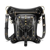 high quality unisex vintage steampunk motorcycle single shoulder cross body messenger bag soft PU leather waist bags belt bolsas