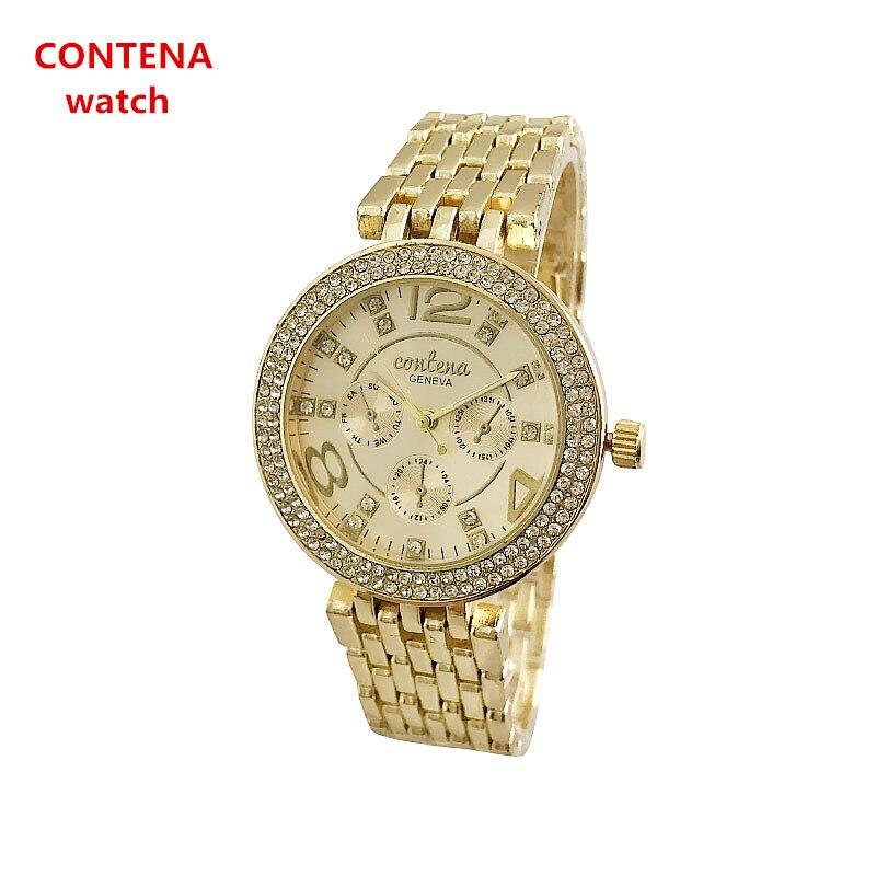 все цены на CONTENA Brand Dress Women Watches Steel Luxury Gold Lovers Bracelet Wristwatch Business Quartz Ladies Watch Relogio Feminino