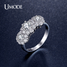 UMODE Fashion Jewelry For Women Three Stone Engagement Ring / Wedding Rings Rhodium plated Wedding Bands Love Gift AUR0343