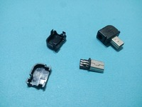 100 stks Mini USB Plug 5 Pin 90 graden met Plastic Handvat Haakse