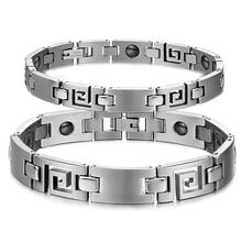 Lovers Hologram Bracelets with Magnet Stone Fashion Stainless Steel Women Men font b Health b font