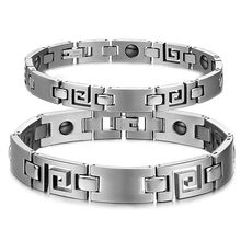 Lovers' Hologram Bracelets with Magnet Stone Fashion Stainless Steel Women Men Health Care Vintage Jewelry GS3108