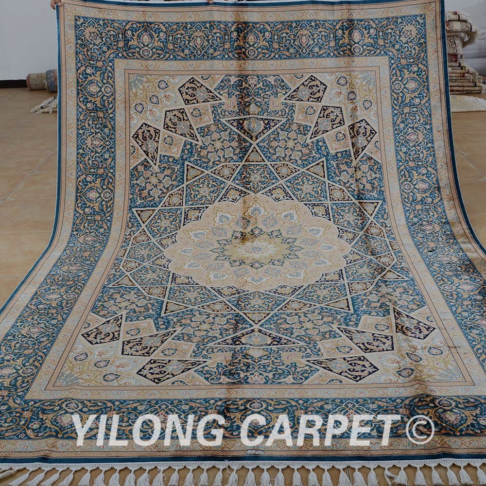 Yilong 7.1'x10.3' Iran Silk Rug Large Antique Double Knots