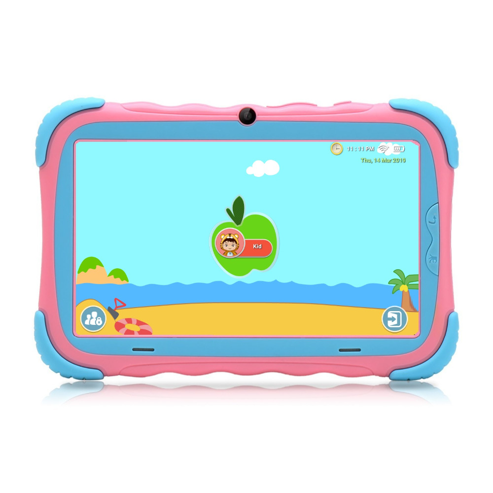 iRULU 7 inch Android 7.1 Kids Tablet 16GB Babypad Edition PC with Wifi and Camera GMS Certified Supported Kids-Proof Case(Pink)