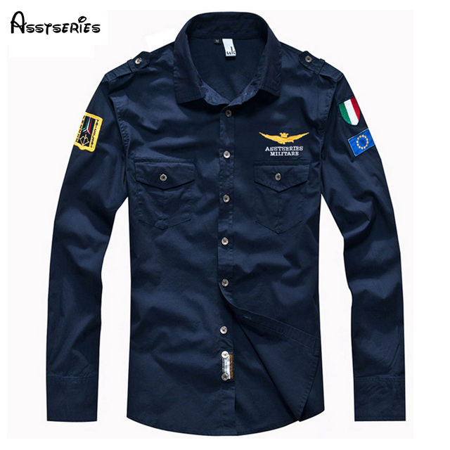 2018 Men's Spring Aeronautica Militare AirForce One Shirt Fashion Embroidery Men Brand full-Sleeved Shirts Free Shipping  46
