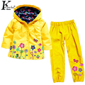 KEAIYOUHUO Girls Clothes Set 2017 Spring Children Clothing Hooded Raincoat Baby Girl Clothes Costume For Kids Boys Sport Suit