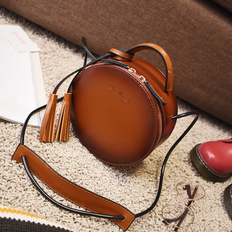 f93f602a67e4 New Arrival Brand Designer Women Leather Tassel Mini Round Handbags Korean  Style Shoulder Bags Crossbody Bags bolsa redonda-in Shoulder Bags from  Luggage ...
