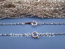 цена на Free shipping Wholesale 42cm Plated Silver Sesame Link chain 1mm with clasp 50pcs/lot