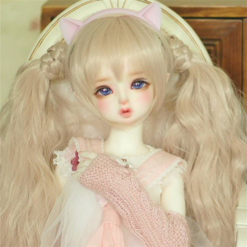 BJD wig for 7-8 DD SD doll wig double ponytail - msd free ship gou matsuoka long wine red women style anime cosplay wig one ponytail 370f