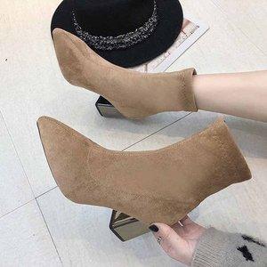 Image 3 - Moda kostki elastyczne skarpety buty masywne szpilki na wysokim obcasie Stretch kobiety jesień Sexy botki Pointed Toe kobiety rozmiar pompy