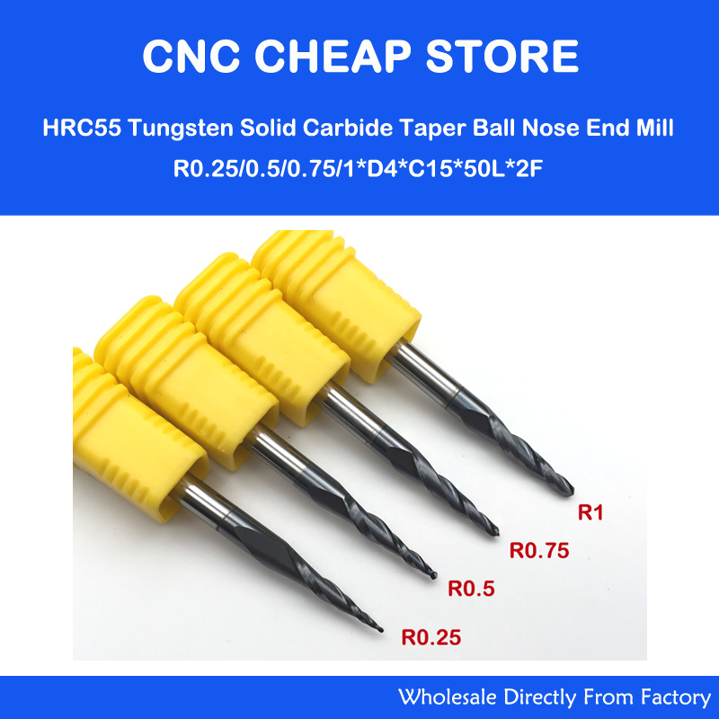 4PC Assorted R0.25&0.5&0.75&1.0mm 4mm Shank HRC55 Tungsten solid carbide Tapered Ball Nose End Mills and cone CNC Milling cutter original solid carbide milling cutter 68hrc zcc ct hm hmx 2b r10 0 2 flute ball nose end mills with straight shank
