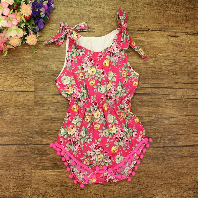 ae4c13cdd5f0 Factory Retail 100% Cotton Baby Girls Romper Rose Pattern Floral Baby  Clothes Pom Baby Bubble Romper Summer Newborn Playsuit