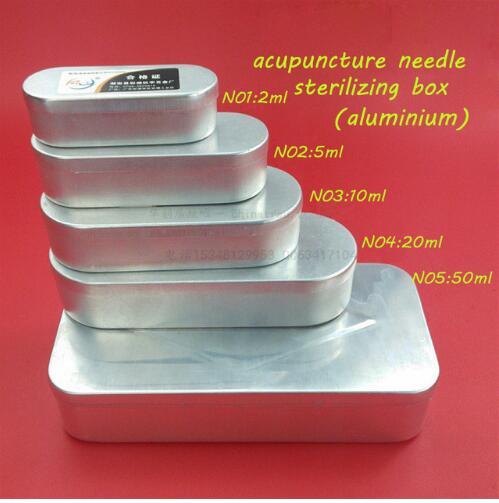 1 set/5 taille/5 pcs Médical aiguilles d'acupuncture aiguille stérilisation boîte boîte en aluminium 2/5/10/20/50 ML ensemble medcine box container
