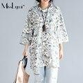 MissLymi Tallas grandes Mujeres camiseta 2017 Nueva Primavera Verano Flores Grandes O-cuello de Cinco mangas ocasional Flojo Retro Pastoral Estilo Tops