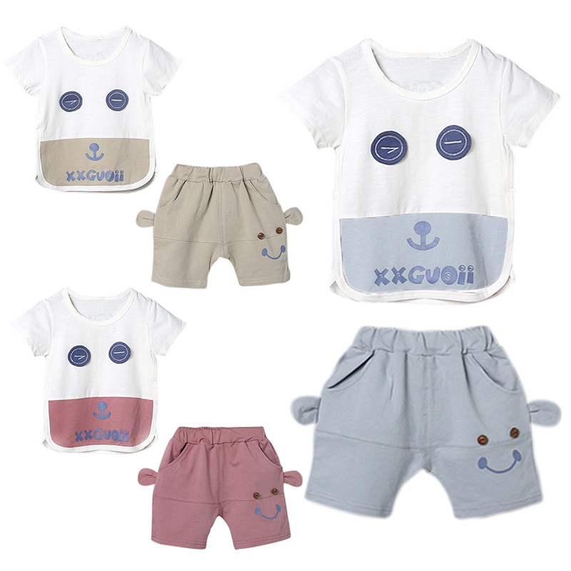 Summer childrens clothing set baby boy girl cartoon cute short-sleeved shorts two-piece cotton fashion childrens clothing