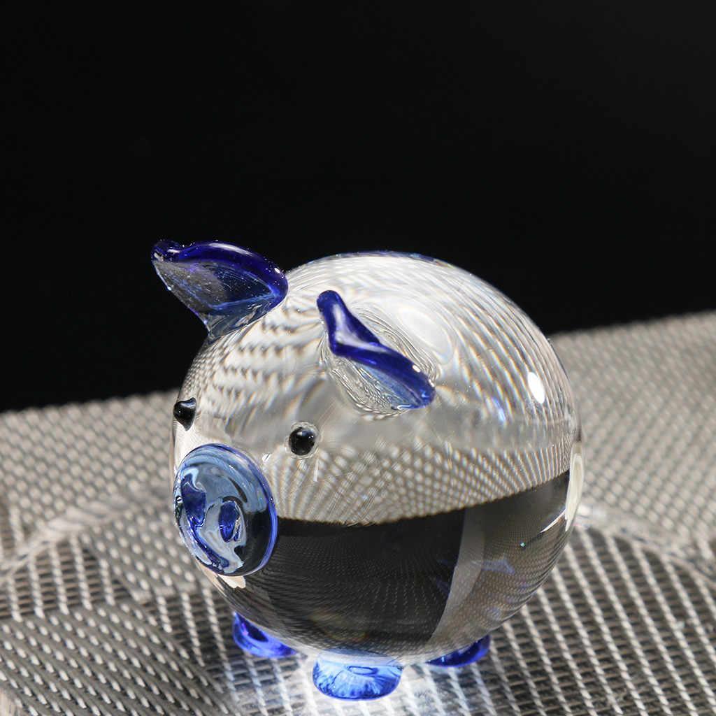 Multi Color Cyrstal Glass Vivid Pig Figurine Home Decor Display Collectible