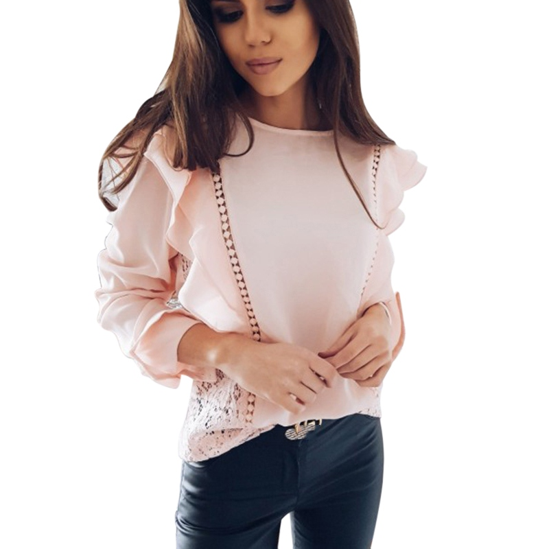 New Side Ruffles Summer Chiffon Shirts Fashion Lace Hollow White Womens Blouse Elegant O-Neck Long Sleeve Causal Shirt Top wome