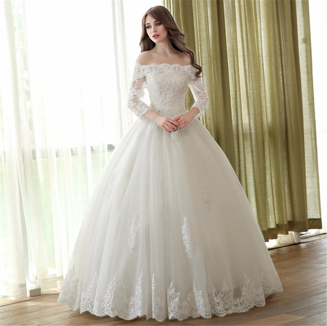 Off Shoulder Lace Ball Gown Wedding Dresses 3/4 Sleeve Princess ...