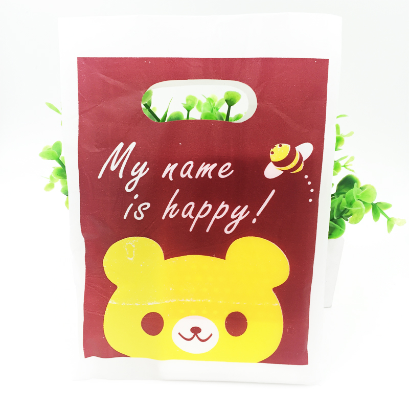 Red Yellow Bear Printed Jewelry Packaging Bags 15x20cm 100pcs Boutique Wedding Gift Plastic Shopping Bags With Handle H2010