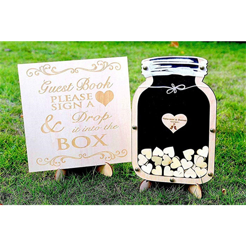 Original Wedding Guest Book Ideas: Wedding Decoration Guest Book Drop Wood Box Guestbook