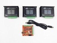 CNC TB6600 mach3 usb 3 Axis Kit, 3pcs TB6600 1 Axis Driver + one mach3 4 Axis USB CNC Stepper Motor Controller card 100KHz