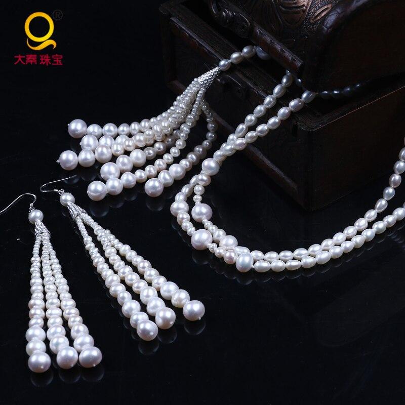 Nouveau design de mode exquis longue chaîne chandail collier et boucles d'oreilles petite à grande perle en argent sterling bijoux femmes pour la fête